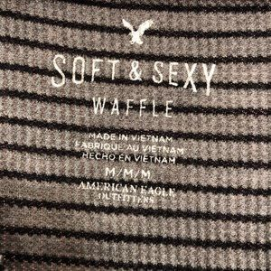 American Eagle Outfitters Tops - American Eagle gray / black stripe waffle knit